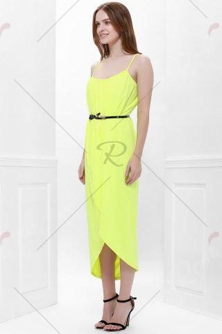Cheap Sexy Spaghetti Strap Sleeveless Solid Color Furcal Women's Dress - L YELLOW Mobile