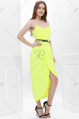 Best Sexy Spaghetti Strap Sleeveless Solid Color Furcal Women's Dress - L YELLOW Mobile