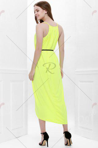 Sale Sexy Spaghetti Strap Sleeveless Solid Color Furcal Women's Dress - L YELLOW Mobile