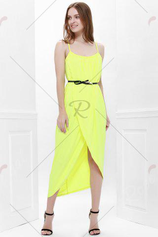 Hot Sexy Spaghetti Strap Sleeveless Solid Color Furcal Women's Dress - L YELLOW Mobile