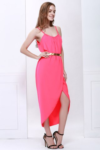 Shop Sexy Spaghetti Strap Sleeveless Solid Color Furcal Women's Dress - S RED Mobile