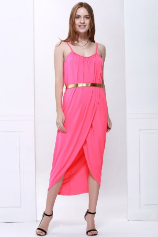 Chic Sexy Spaghetti Strap Sleeveless Solid Color Furcal Women's Dress - S RED Mobile