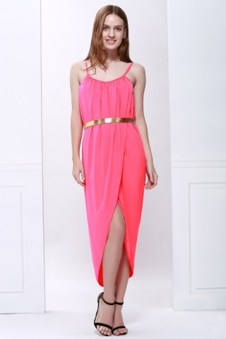 Trendy Sexy Spaghetti Strap Sleeveless Solid Color Furcal Women's Dress - S RED Mobile