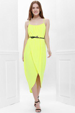 Hot Sexy Spaghetti Strap Sleeveless Solid Color Furcal Women's Dress - S YELLOW Mobile
