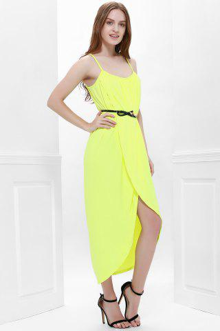 Sale Sexy Spaghetti Strap Sleeveless Solid Color Furcal Women's Dress - S YELLOW Mobile