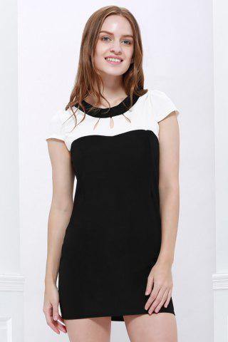 Hot Elegant Jewel Neck Short Sleeve Hollow Out Color Block Dress For Women