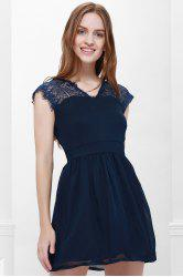 Cape Sleeve V-Neck Backless Lace Splicing Wide Hem Women's Dress - BLUE