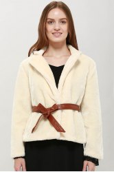Noble Lapel Imitation Rabbit Fur Women's Coat With Belt - BEIGE