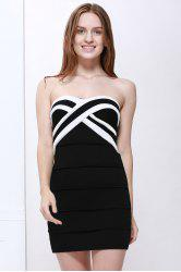 Mini Strapless Color Block Tight Club Dress - BLACK
