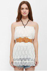 Strapless Mini Lace Tube Dress - WHITE