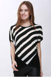 Scoop Neck Sloping Stripe Print Batwing Sleeve Women's Summer Blouse - BLACK