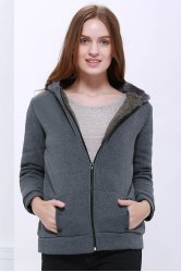 Fashion Casual Women's Thicken Hoodie Coat Outerwear Jacket - DEEP GRAY