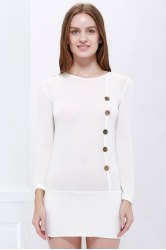 Casual Scoop Neck manches longues solide Couleur Bodycon Boutons Décoration Coton Blend Dress - Blanc