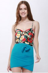 Floral Bodycon Slip Dress - SKY BLUE ONE SIZE