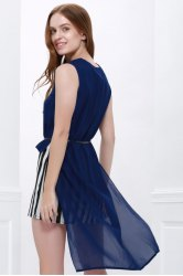 Stylish Stripes Twinset High-Low Hem Chiffon Women's Dress - BLUE