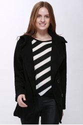 Fashion Hooded Solid Color Single-Breasted Long Sleeves Thickened Design Women's Coat - BLACK