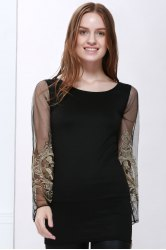 Voile Splicing V-Neck Sexy Style Ninth-Minute Sleeves Slimming Women's Dress -