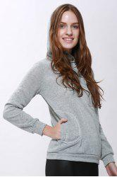 Casual Solid Color Long Sleeve Hoodie For Women - GRAY