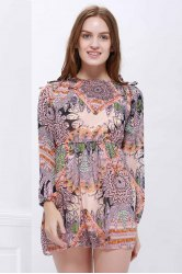 Printed Mini Chiffon Dress - COLORMIX