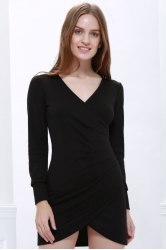V-Neck Long Sleeves Bandage Dress - BLACK