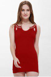 Solid Color Faux Pearl Packet Buttock Sexy Style Sleeveless Women's Dress - RED L
