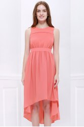 High Low Hem Chiffon Bridesmaid Dress - ORANGEPINK