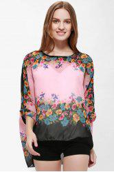 Bohemia Style Scoop Neck Loose-Fitting Bat-Wing Floral Print Women's Blouse