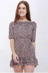 Sexy Slash Collar 3/4 Sleeve Leopard Print Women's Dress