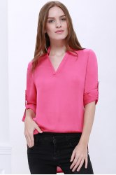 Casual Style 1/2 Sleeve Stand-Up Collar Solid Color Women's Blouse