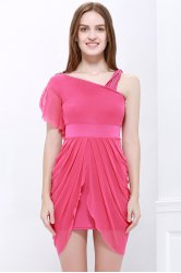 One Strap Ruffled Asymmetric Hem Tulip Bridesmaid Dress - ROSE
