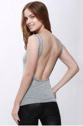 Sexy Scoop Neck Solid Color Backless Tank Top For Women