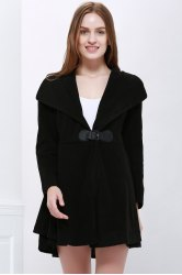 Solid Color Noble Style Worsted Turn-Down Collar Long Sleeves Women's Coat - BLACK