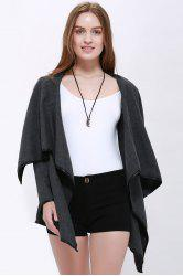 Elegant Turn-Down Collar Long Sleeve Ruffled Coat For Women - GRAY