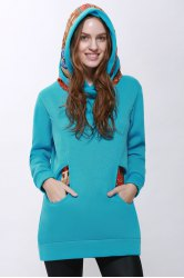 Korean Thicken Solid Color Thicken Hooded Long Sleeves Women's Hoody - BLUE