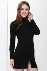 Roll Neck Slit Front Design Pullover Jumper Dress - BLACK