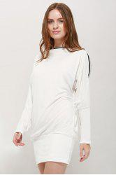 Long Zipper Embellished Long Sleeve T-Shirt - WHITE ONE SIZE