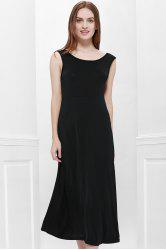 Bohemian Style Delicate Scoop Neck Solid Color V-Shape Backless Black Sleeveless Maxi Dress For Women - BLACK