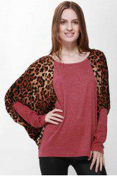 Casual Scoop Neck Color Splicing Leopard Print Long Sleeves Loose-Fitting Women's Sweater - RED