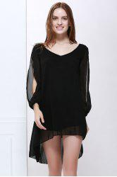 Slit Sleeve V Neck Chiffon High Low Dress - BLACK