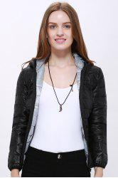 Stylish Hooded Long Sleeve Zippered Pocket Design Women's Down Jacket - BLACK