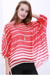 Casual Scoop Neck Striped Batwing Sleeve Women's Blouse