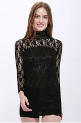 High Neck Puff Sleeve Lace Dress - BLACK