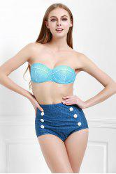 Strapless Polka Dot Vintage High Waisted Bikini