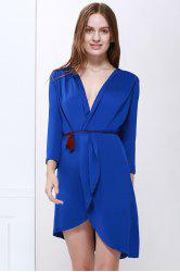 Elegant V-Neck Kink Ruffle Asymmetrical Hem 3/4 Sleeve Women's Party Dress - BLUE