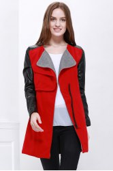 Lady Long Warm Leather Sleeve Jacket Coat Trench - RED