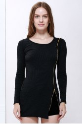 Scoop Neck Solid Color Zip Decorated Women's Long Sleeve Dresses -