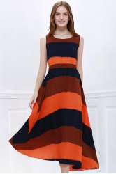 Western Style Color Block Broad Stripe Print Elastic Waist Women's Chiffon Ankle-Length Dress -