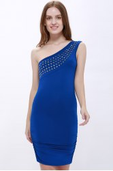 One Shoulder Rhinestone Party Night Out Dress