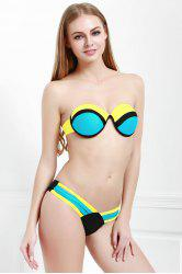 Stylish Strapless Color Spliced Women's Bikini Set