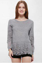 Lace Panel Long Sleeve Casual Top - GRAY XL